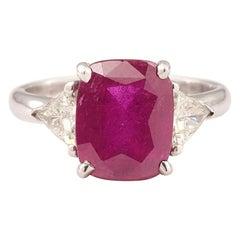 Certified 4.21 Carat Unheated Tanzanian Ruby Diamond 18 Karat White Gold Ring