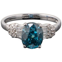 Certified 4.28 Carat Blue Zircon and Diamond Cocktail and or Engagement Ring