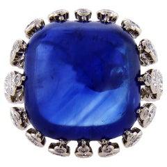 Certified 43.22 Carat Ceylon Sapphire Diamond Cocktail Ring