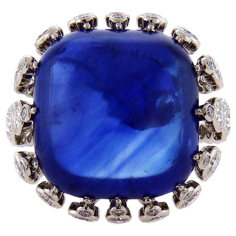 Certified 43.22 Carat Ceylon Sapphire Diamond Cocktail Ring For Sale