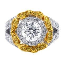 Certified 4.35 Carat Two-Tone Halo Diamond Ring