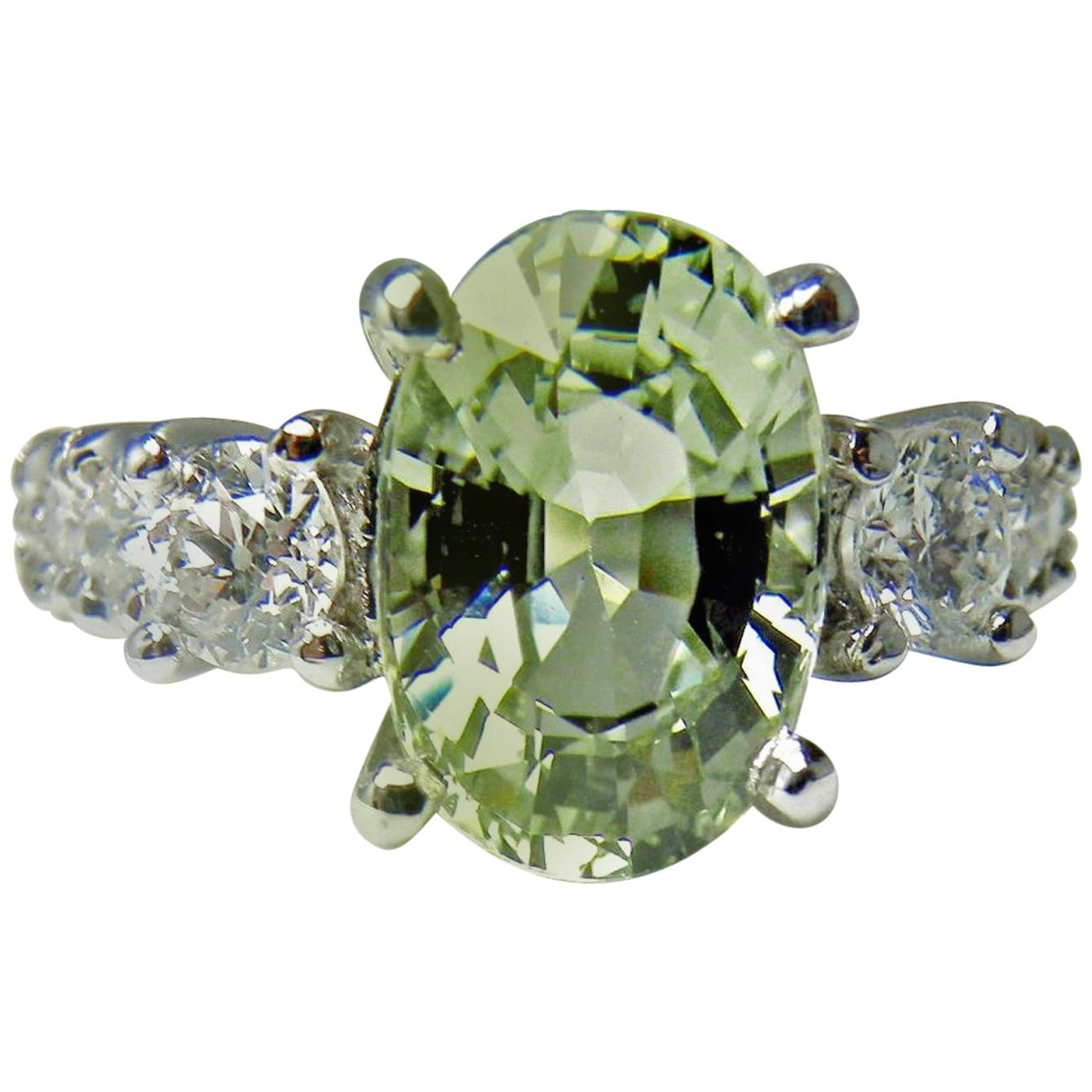 Certified 4.38 Carat Untreated Fine Sapphire and Diamond Engagement Ring 18K