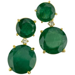 Certified 44.07 Carat Round Emerald and Diamond Dangle Earrings