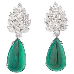 Certified 44.34 Carat Pear Shape Emerald and Diamond 18 Karat Gold Drop Earrings