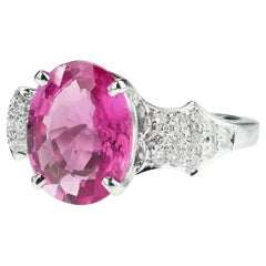 Certified 4.5 Carat Natural Pink Sapphire and Diamond Ring in 18 Karat Gold