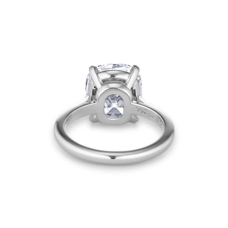 Cushion Cut Certified 4.68 Cushion Brilliant Cut Diamond Platinum Engagement Ring For Sale