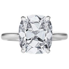 Certified 4.68 Cushion Brilliant Cut Diamond Platinum Engagement Ring