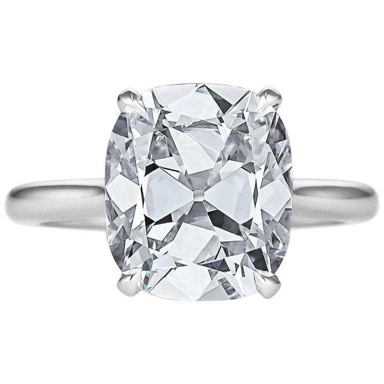 Certified 4.68 Cushion Brilliant Cut Diamond Platinum Engagement Ring For Sale