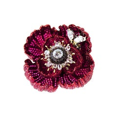 Sybarite Opium Certified 4.91 Carat Diamonds 18.7 Carat Ruby Cocktail Ring