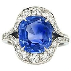 Certified 5.01 Carat Kashmir Sapphire Diamond Cocktail Ring