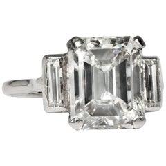 Certified 5.012 Carat Emerald Cut Diamond Art Deco circa 1935 Engagement Ring