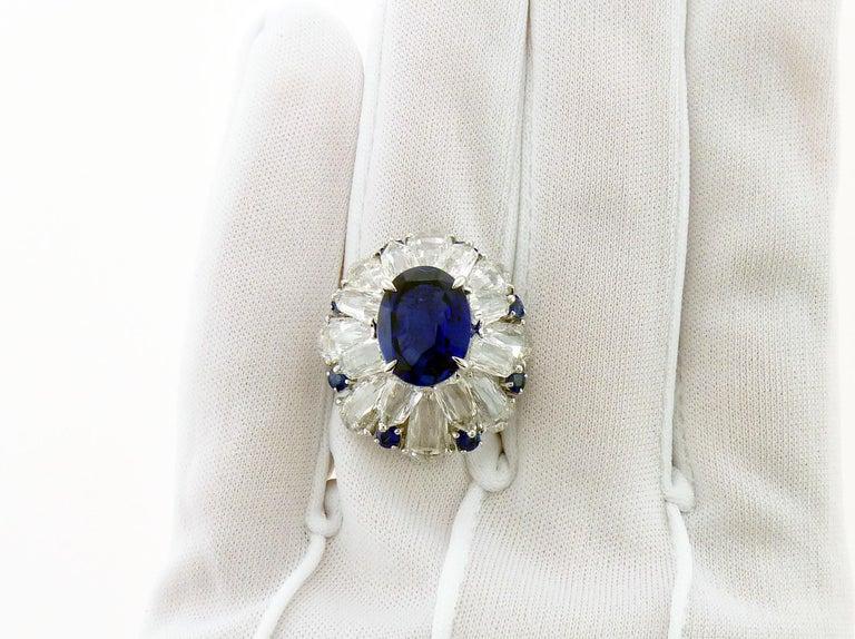 Oval Cut Certified 5.11 Carat Sapphire Diamond 18 Karat White Gold Ring For Sale
