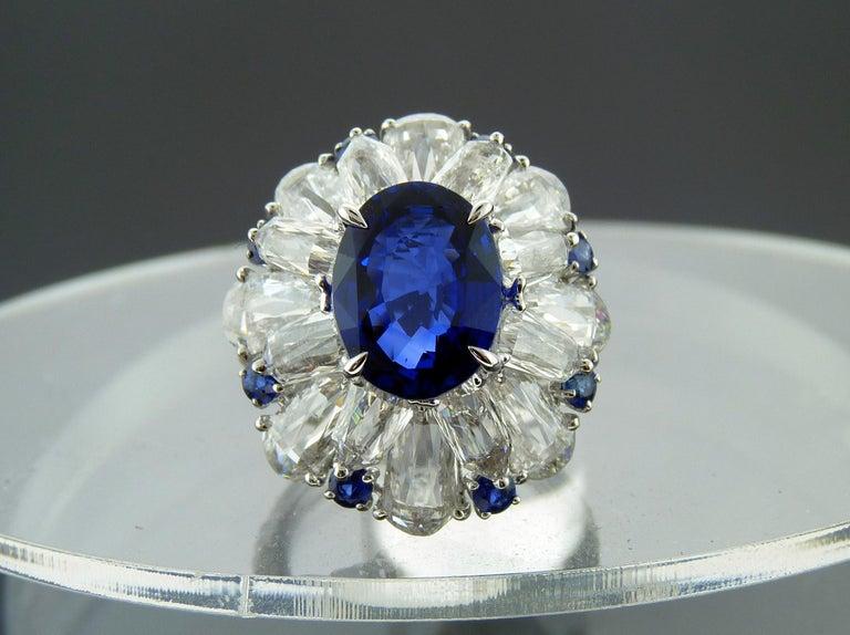 Certified 5.11 Carat Sapphire Diamond 18 Karat White Gold Ring For Sale 1