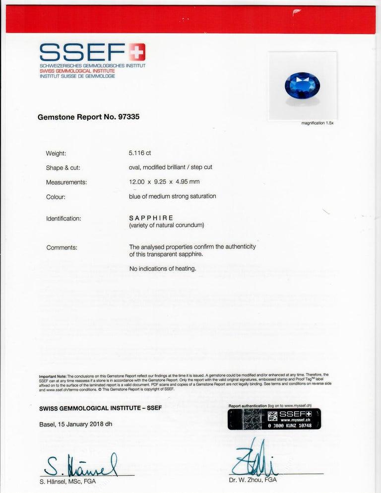 Certified 5.11 Carat Sapphire Diamond 18 Karat White Gold Ring For Sale 2