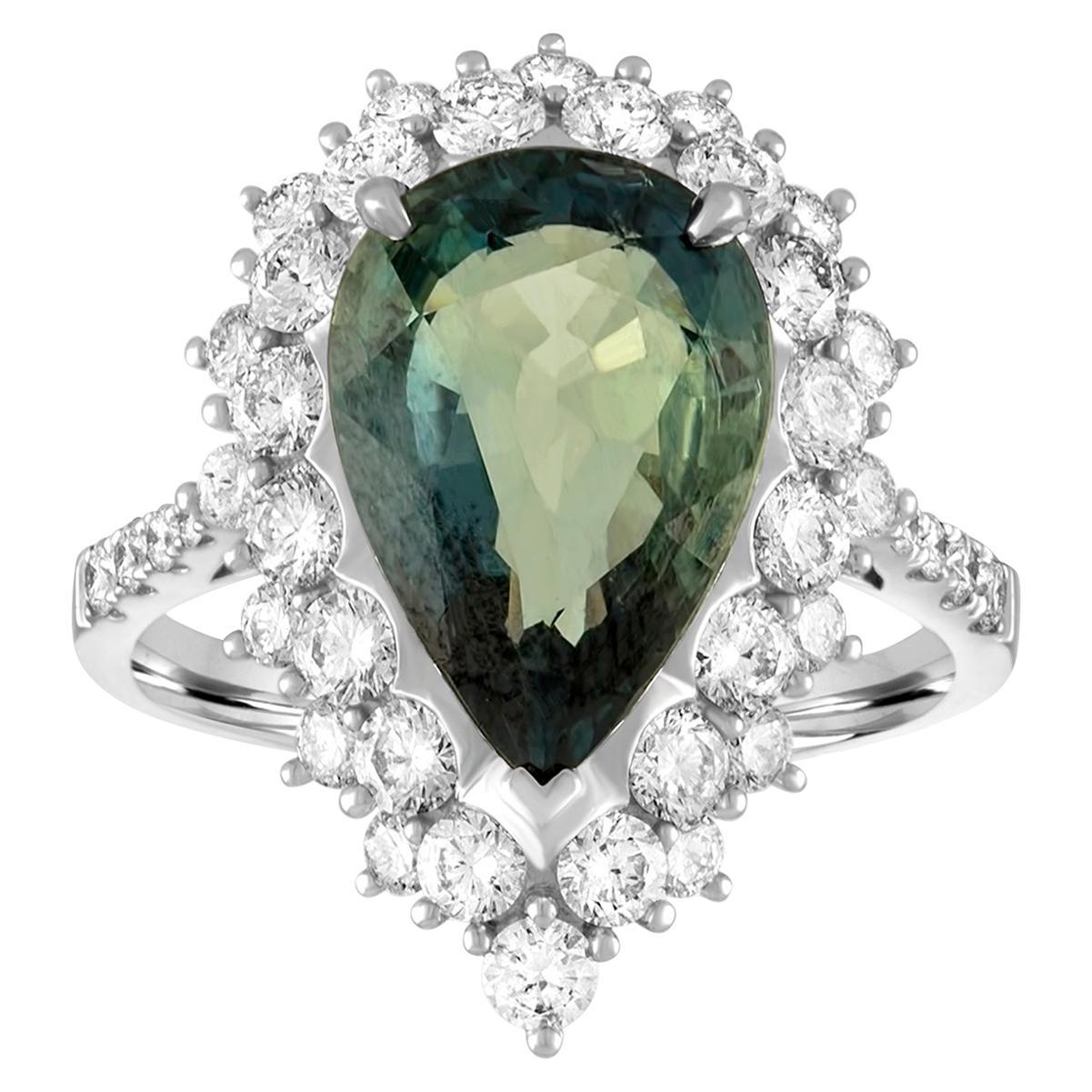 Certified 5.40 Carat No Heat Greenish Blue Sapphire Diamond Gold Ring