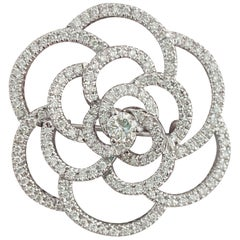 Certified, 5.50 Carat Diamond and White Gold Pin