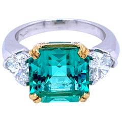Certified 5.55 Carat Colombian Natural Emerald Heart Diamond Ring