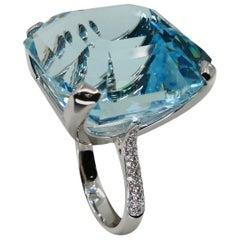 Certified 55.738 Carat Asscher Cut Aquamarine & Diamond Statement Cocktail Ring