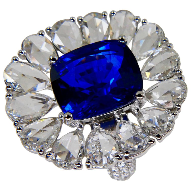 Certified 6 Carat Ceylon Royal Blue Sapphire and Rose Cut Diamond Cocktail Ring For Sale