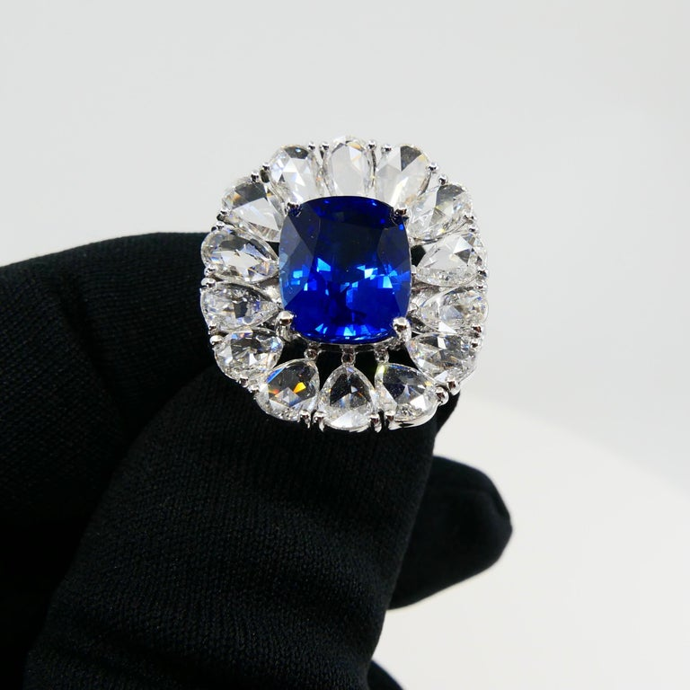 Certified 6 Carat Ceylon Royal Blue Sapphire and Rose Cut Diamond Cocktail Ring For Sale 5