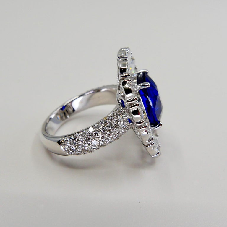 Certified 6 Carat Ceylon Royal Blue Sapphire and Rose Cut Diamond Cocktail Ring For Sale 6