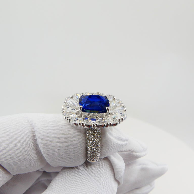 Certified 6 Carat Ceylon Royal Blue Sapphire and Rose Cut Diamond Cocktail Ring For Sale 7