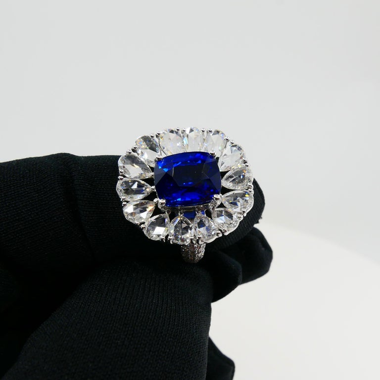 Certified 6 Carat Ceylon Royal Blue Sapphire and Rose Cut Diamond Cocktail Ring For Sale 8