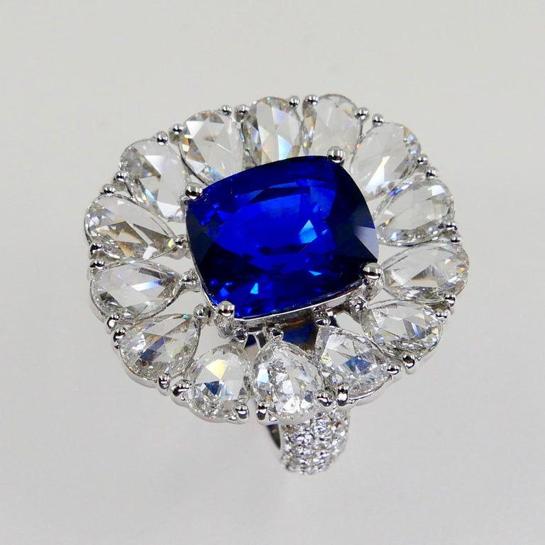 Certified 6 Carat Ceylon Royal Blue Sapphire and Rose Cut Diamond Cocktail Ring For Sale 9