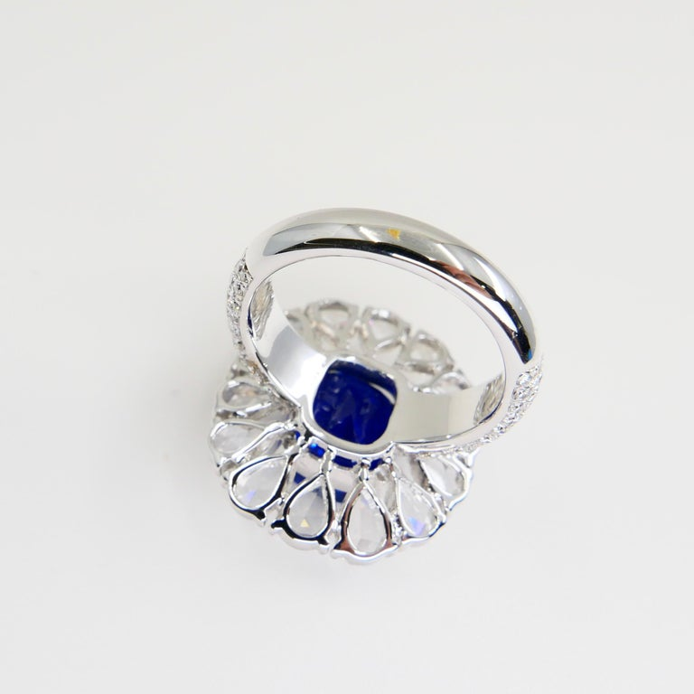 Certified 6 Carat Ceylon Royal Blue Sapphire and Rose Cut Diamond Cocktail Ring For Sale 10