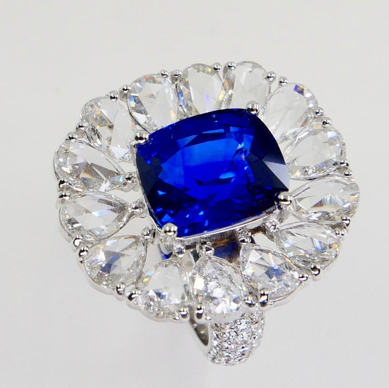 Certified 6 Carat Ceylon Royal Blue Sapphire and Rose Cut Diamond Cocktail Ring For Sale 11