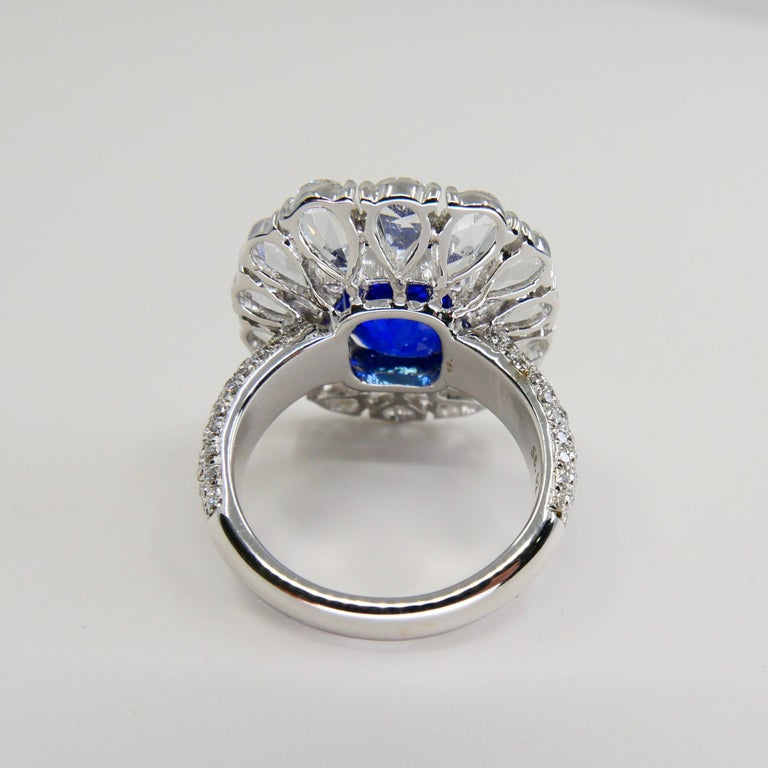 Cushion Cut Certified 6 Carat Ceylon Royal Blue Sapphire and Rose Cut Diamond Cocktail Ring For Sale