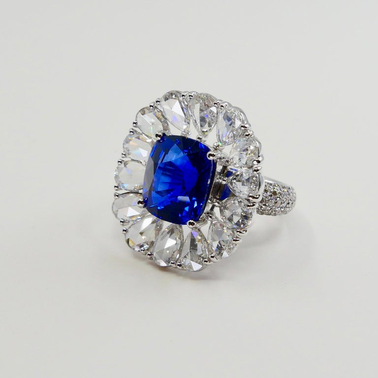Women's Certified 6 Carat Ceylon Royal Blue Sapphire and Rose Cut Diamond Cocktail Ring For Sale