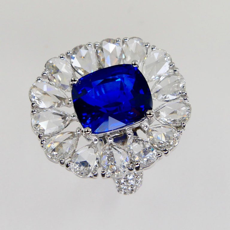 Certified 6 Carat Ceylon Royal Blue Sapphire and Rose Cut Diamond Cocktail Ring For Sale 1