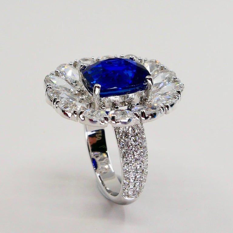 Certified 6 Carat Ceylon Royal Blue Sapphire and Rose Cut Diamond Cocktail Ring For Sale 2