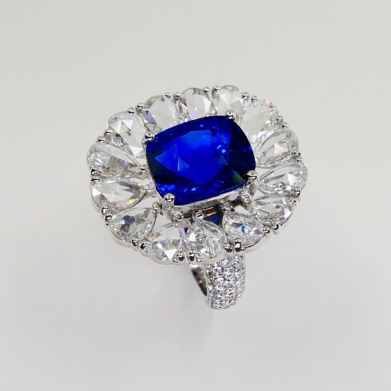 Certified 6 Carat Ceylon Royal Blue Sapphire and Rose Cut Diamond Cocktail Ring For Sale 3
