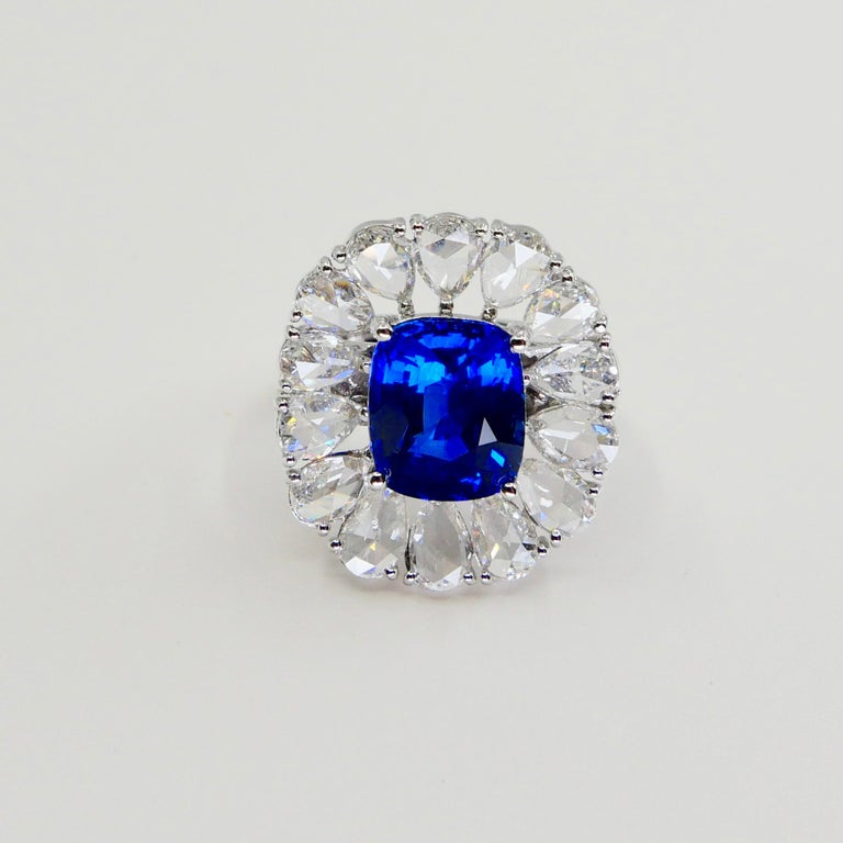 Certified 6 Carat Ceylon Royal Blue Sapphire and Rose Cut Diamond Cocktail Ring For Sale 4
