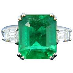 Certified 6.05 Carat Colombian Emerald Diamond Emerald Cut Platinum Ring
