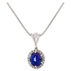 Certified 6.30 Carat Tanzanite and Diamond Necklace in 18 Carat White Gold