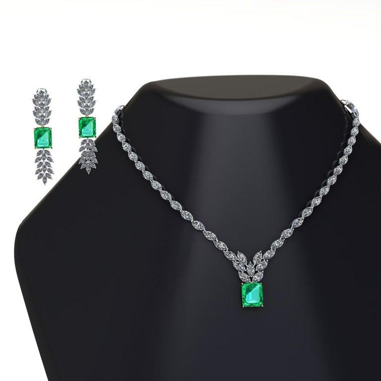Certified 6.31 Carat Emerald 23 Carat Diamond 18k Gold and Platinum 950 Necklace For Sale 5