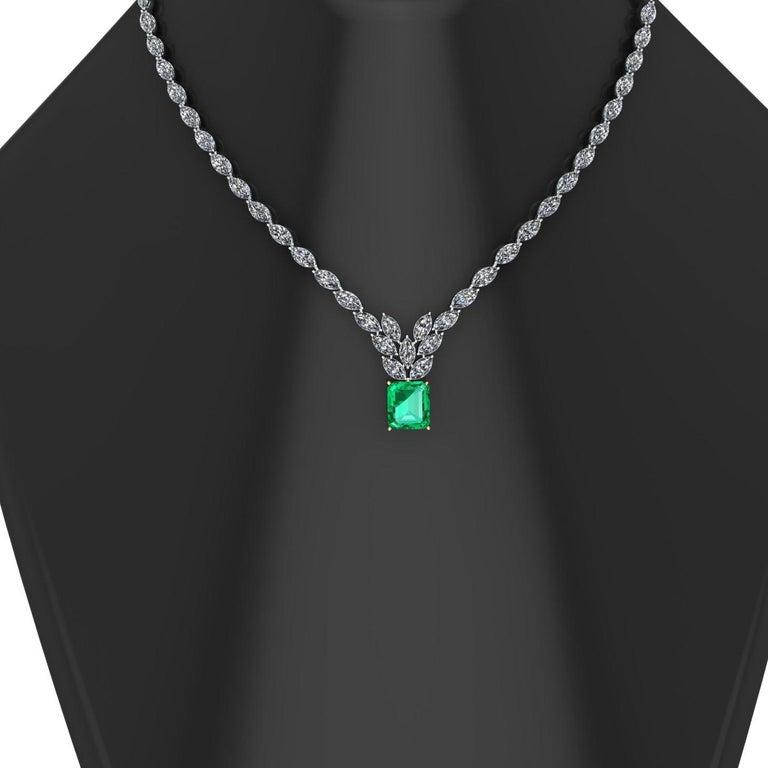 Emerald Cut Certified 6.31 Carat Emerald 23 Carat Diamond 18k Gold and Platinum 950 Necklace For Sale