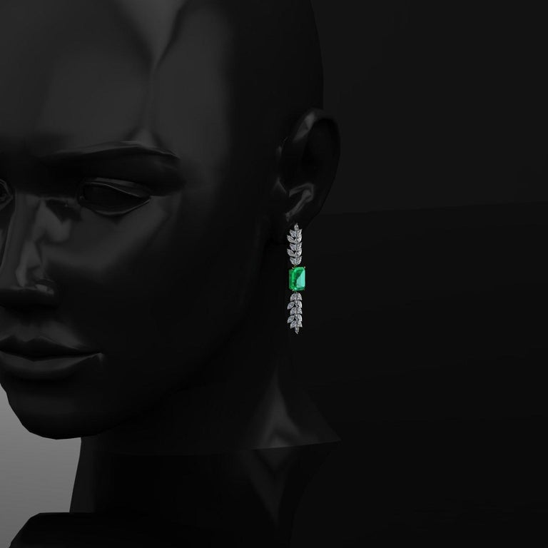 Certified 6.31 Carat Emerald 23 Carat Diamond 18k Gold and Platinum 950 Necklace For Sale 1