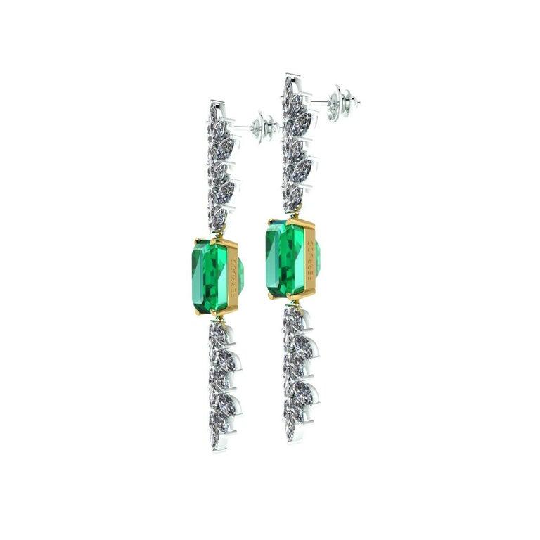 Certified 6.31 Carat Emerald 23 Carat Diamond 18k Gold and Platinum 950 Necklace For Sale 3