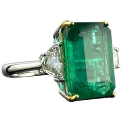Certified 6.34 Carat Emerald and Diamond Three-Stone Engagement Ring