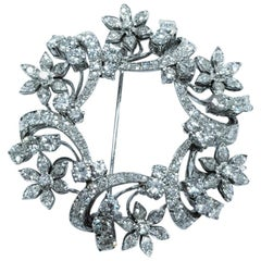 Certified 6.40 Carat Platinum Marquise Round Cut Diamond Brooch