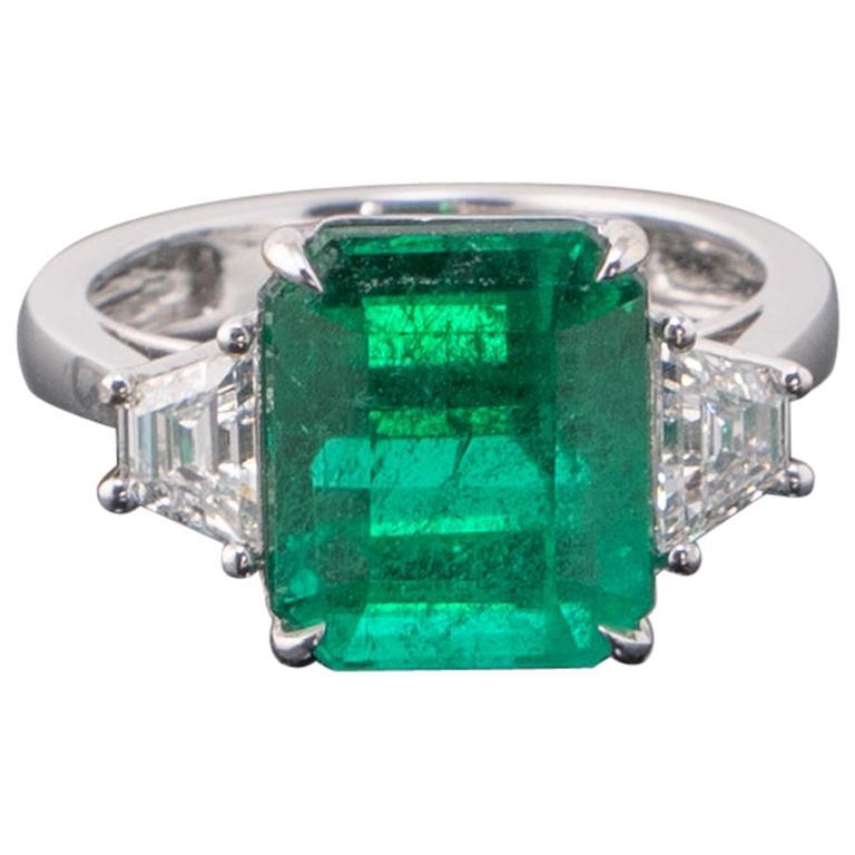 Certified 6.43 Carat Emerald and Diamond Three-Stone Engagement Ring
