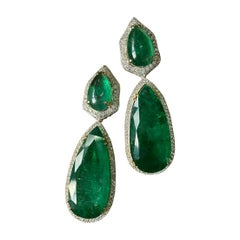 Certified 65.32 Carat Emerald and Diamond 18K White Gold Dangle Earring