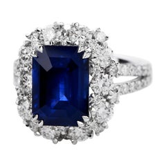 Certified 6.80 Carat Royal Blue Sapphire Diamond 18k Gold Halo Cocktail Ring