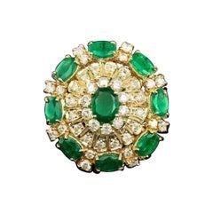 Certified 6.86 Carat Emerald and Diamond Ballerina Cocktail Ring
