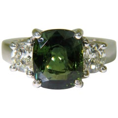 Certified 6.96 Carat No Heat Natural Green Sapphire Diamond Ring Unheated