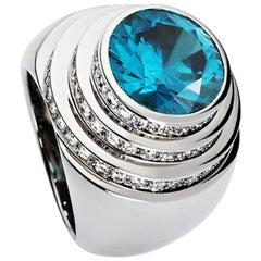 Certified 6.96 Carat Zircon Diamond Cocktail Ring